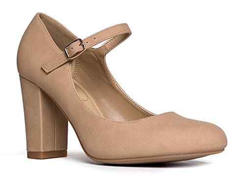 Adams Mary Skippy Round Nbpu Pumps Heels Toe Natural Chunky Block Cute J Jane Comfortable ExdEB