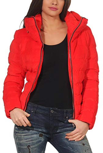 Mujer Rojo Cazadora Forrado Chaqueta Malito Acolchada Terciopelo Jf1831 De Mirada dzPTtx