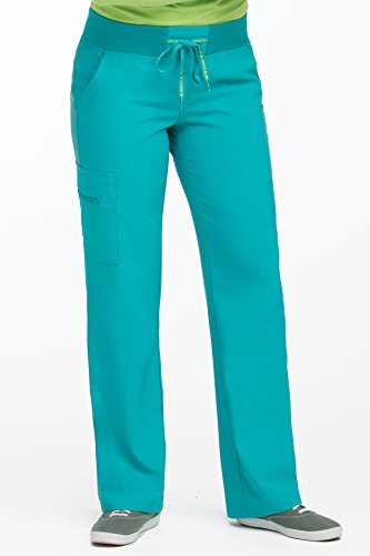 (Med Couture Scrub Pants Women, Yoga Cargo Pocket Scrub Pant, Large, Aquamarine)