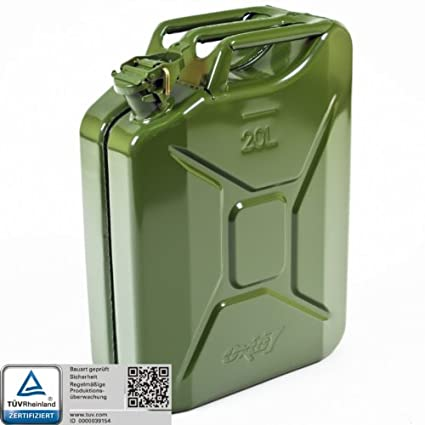 Bauart gepr/üft T/ÜV Rheinland Zertifiziert Oxid7/® Benzinkanister Kraftstoffkanister Metall 20 Liter Olivgr/ün mit UN-Zulassung