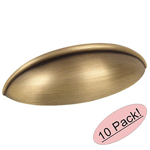 Antique Pull Cabinet Cup (10 Pack - Cosmas 1399BAB Brushed Antique Brass Cabinet Hardware Bin Cup Drawer Handle Pull - 2-1/2