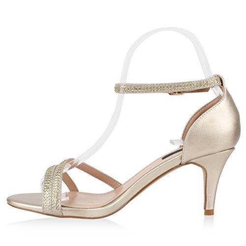 Stiefelparadies Damen Riemchensandaletten Strass Sandaletten Stilettos High Heels Party Schuhe Glitzer Lack Mid Heel Sandalen Flandell Gold Metallic Riemchen