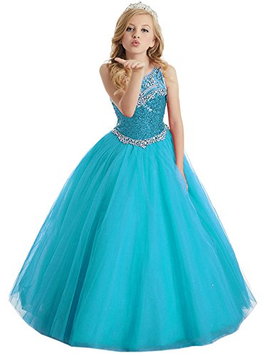 (Flower Girls' Sequins Ball Gowns Beaded Long Pageant Dresses 10 US Teal)