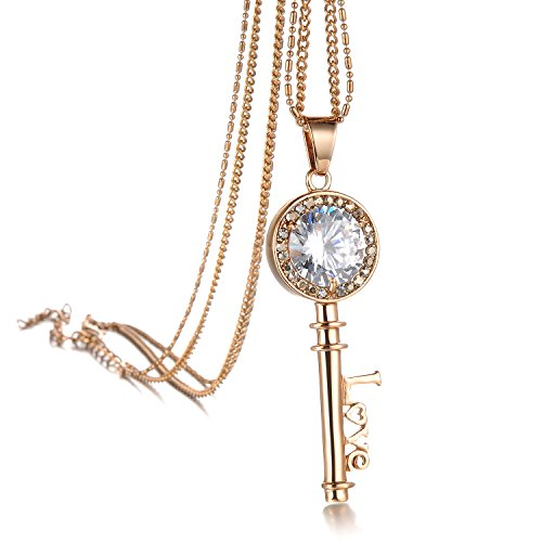 """Geminis Fashion Jewelry Classical Inlay Rhinestone Rose Gold """"Love"""" Key Long Pendant Necklace Lady's Sweater Necklaces"""