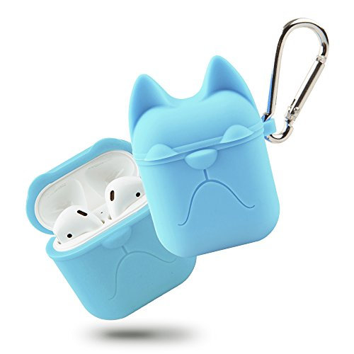 Airpods Case, Apple Wireless Earbuds Protective Case, Airpods Silicone Case Cover Waterproof Soft Skin with Anti-Lost Keychain Headphone Accessories for Apple Airpods Charging ()
