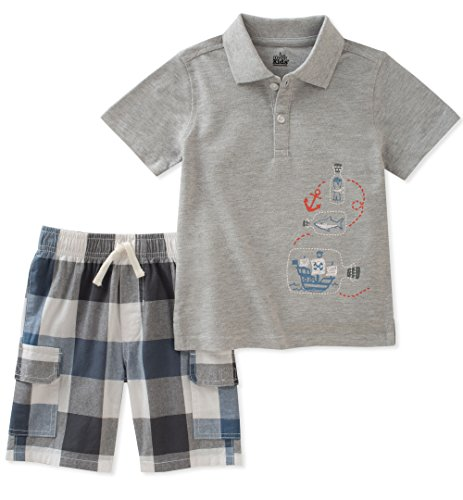 Kids Headquarters Boys' Toddler 2 Pieces Polo Shorts Set, Gray, 3T
