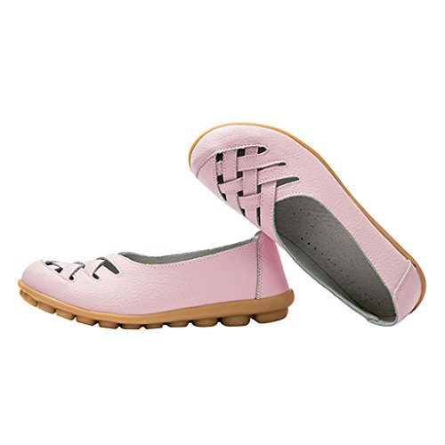 Pink Time Flats PU Hollow Women On Out Slip Dear SwdZq8Rw