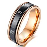 SAINTHERO Mens Wedding Bands 6MM Black Rose Gold Plated Titanium Stainless Steel His Promise Rings High Polished Finish Comfort Fit Size 7