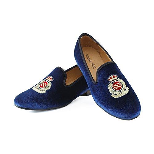Journey West Men's Vintage Velvet Embroidery Noble Loafer Shoes Slip-On Loafer Smoking Slipper Black/Red/Blue Blue sale sast RqmCj7