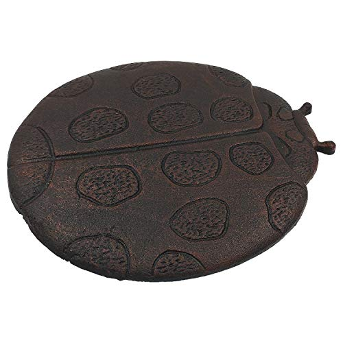 OUTOUR Oval Cute Cast Iron Ladybug Stepping Stone for Garden Patio Lawn Pool Outdoor Garden Decor Gift, Dark Rust (Outdoor Patio Stones)