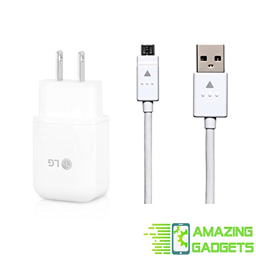 Genuine LG Quick Wall Charger + Micro USB Cable for LG G3/G4/Stylo 2 3 Plus/V10/K10/Tribute/X Style - 100% OEM - Bulk Packaging by Amazing Gadgets Certified