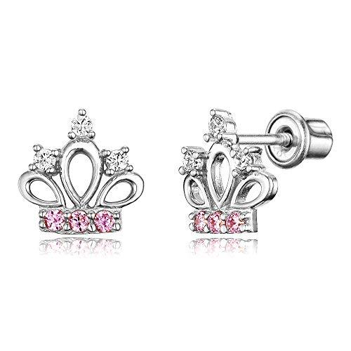 925 Sterling Silver Rhodium Plated Pink Cubic Zirconia Princess Crown Screwback Baby Girls Earrings