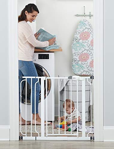41ICtCprlgL Regalo Easy Step 38.5-Inch Extra Wide Walk Thru Baby Gate, White Original version    Your baby has started to walk, it's time to child proof your house. The Easy Step gate hits all the criteria with an all-steel construction, installs quickly by either pressure mount or wall mount and is adjustable to accommodate door openings between 29-34 inches or 35-38.5 inches wide. Space between the bars are 2.5 inches. The gate door is 16 inches wide. Please Read The gate WILL appear BENT before installation There WILL be a GAP at the handle before installation Both of these concerns will be eliminated once the gate is properly installed in your doorway Please measure your opening prior to purchase to ensure proper fit Gate frame design to be assembled at all times Regalo Easy Step Baby Gate Features Fits openings between 29-34 and 35-38.5 inches wide and stands 30 inches tall Easy to use lever handle features a one-touch release safety lock Convenient walk through design Easy pressure mount set up Made for children 6-24 months Can be used for medium to large dogs What's Included in The Box One Regalo Easy Step Baby Gate Instruction Manual One 6-inch extension kit Four pressure mounted spindle rods Four wall cups with screws