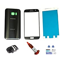 (md0410) Galaxy S7 BLACK Front Outer Glass Lens Screen Back Glass Battery Door Housing Camera Flash Lens Cover Adhesive UV LOCA Glue Full LCD Digitizer Repair Kit Replacement G930 G930A G930V G930T