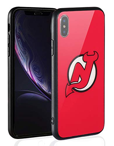 Sportula NHL Phone Case for iPhone X/iPhone Xs, Thin Tempered Glass Back Cover and Slim Silicone Rubber Bumper Frame Compatible Apple iPhone Xs/iPhone X (New Jersey Devils)