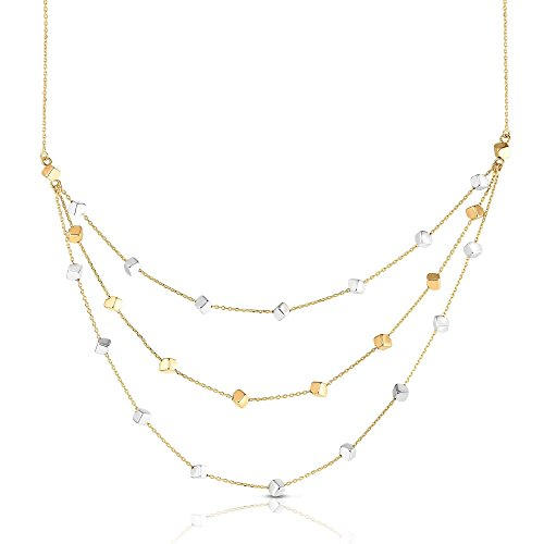 14k Yellow and White Gold Two-Tone Cube Bead Multi Strand Adjustable Station Necklace, 18 Inches