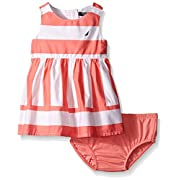 Nautica Baby Girls' Multi-Directional Stripe Dress, Soft Coral, 0-3 Months