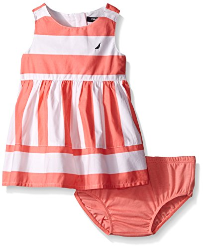 Nautica Baby Girls' Multi-Directional Stripe Dress, Soft Coral, 24 Months (Dresses For Women Nautica)