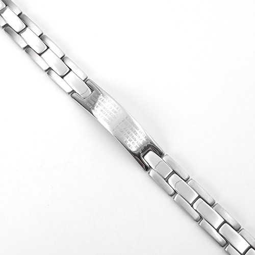 - OHSEE Men's Stainless Steel Cross Bracelet Religious Lord's Prayer Bible Scripture Wrist Bracelet with Link Remover (silver)