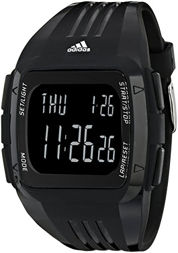 adidas Unisex ADP6090 Digital Black Striped Watch with Polyurethane - Adidas Buckle Sport Performance