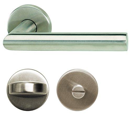 Alpertec Edelstahl Moskau II - R für Badtüren WC Drückergarnitur Türdrücker Türbeschläge, 28020530