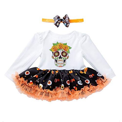 Infant Baby Girl Halloween Outfit Skull Head Cartoon Long-Sleeved Romper Tutu Dress+ Head Band for 0-2 Years Old Baby Girls 2 Pcs Set (1T-2T)