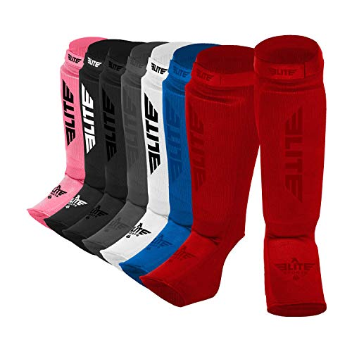 Elite Sports New Item Protective Kickboxing, MMA, Muay Thai Shin & Instep Guards Leg Pad Training Protective Gear Washable (S-M, Red)