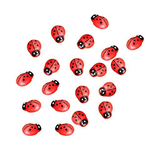 WONdere 10/20/50/100Pcs Painted Wooden Ladybug/Self Adhesive/Craft/Decorations/Home Decor/Plants ()