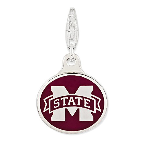 Roy Rose Jewelry Sterling Silver Enamel Mississippi State University w/Lobster Clasp Charm