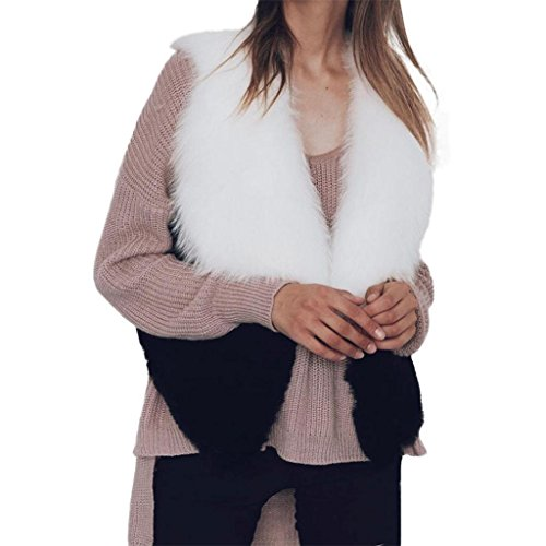 black Vest Gilet Fur Faux Outwear Women Gilet Bestop Sleeveless Shaggy Vest XL Jacket Waistcoat White Long Hair Women vaxwa