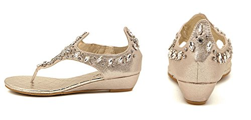 Aisun Womens Stylish Beaded Open Split Toe Beach Wedge Thong Sandals Low Heels Shoes With Rhinestones Gold yIHgPb25I