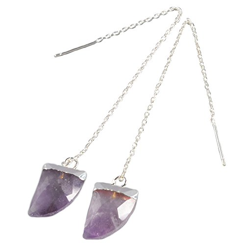 ZENGORI 1 Pair Cold/Silver Plated Horn Natural Amethyst Faceted Earwire Threader Dangle Earrings 3.5