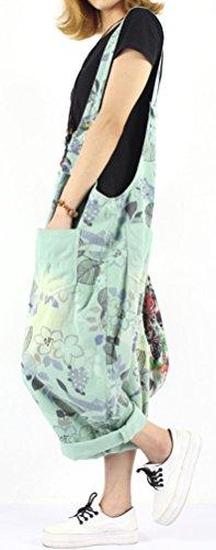 Soojun Women's Loose Fit Pattern Cotton Bib Overalls Shorts Summer 3 Green