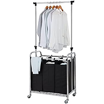 rolling laundry cart with hanging bar container store finnhomy 3bag rolling laundry sorter cart with hanging bar heavyduty wheels amazoncom