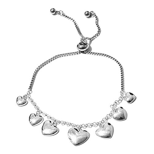 - 925 Sterling Silver and Stainless Steel Heart Charms Bolo Bracelet for Women Jewelry Gift Adjustable