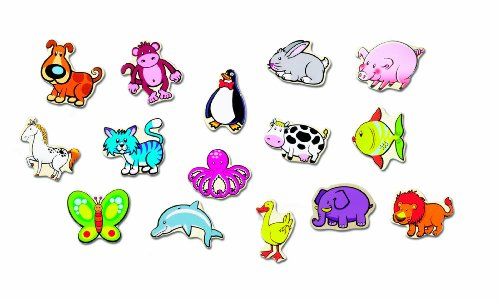 Ryans Room Small World Toys Wooden Toys - Stick Em Magnets - Animals (Small Toys World Room Ryans)