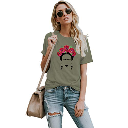 Self Portrait T-shirt - VVTS Womens Frida Kahlo Mexican Personalized Artist Short Sleeve T Shirt Round Neck Tees Army Green