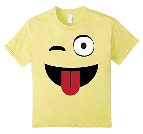 Kids Emoji TShirt One Eye Open Wink Tongue Out