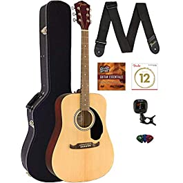 Fender FA-125 Dreadnought Acoustic Guitar – Natural Bundle with Hard Case, Tuner, Strap, Strings, Picks, and Austin…