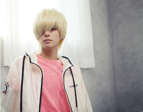 (New Fashion Cool Mens Boys Short Straight Platinum Blonde Hair Party Cosplay)