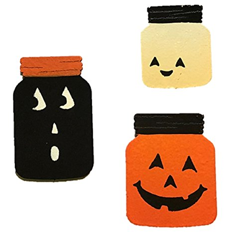 Roeda Brighten Your Life 13560M Halloween Canning Jars Set of 3 Assorted Magnets Made in USA]()