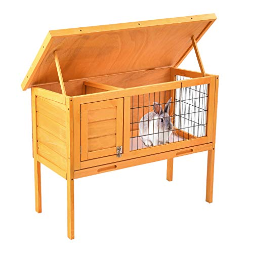 (SUNCOO Wooden Rabbit Hutch Indoor Bunny Cages Chicken Coop Outdoor Small Animal House with Lounge Area Hen House Waterproof Top 1 Layer)
