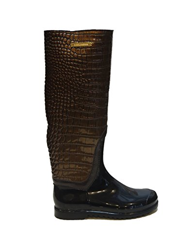 Dolce & Gabbana Italy Woman's Gold Crocodile Leather Rubber Rainboots Boots 6 5