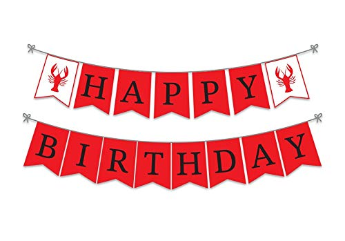 Ideas from Boston- Crawfish Boil Theme Happy Birthday Party Banner, Red & White Birthday Party Celebration Sign, Crawfish boil party supplies decorations, Boil Birthday Party Banner -