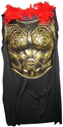 Heavy Plastic Antiqued Gold Roman Armor Chestplate Costume with Cape -