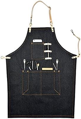 Delantal con tela vaquera y bolsillos, ideal para quienes trabajan ...