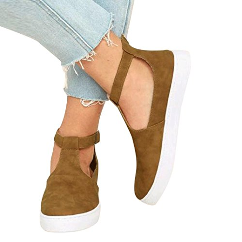 Flat Sandals,Hemlock Women Wedge Sandals Buckle Platforms Low Heel Boat Shoes (US:8, Brown-2)