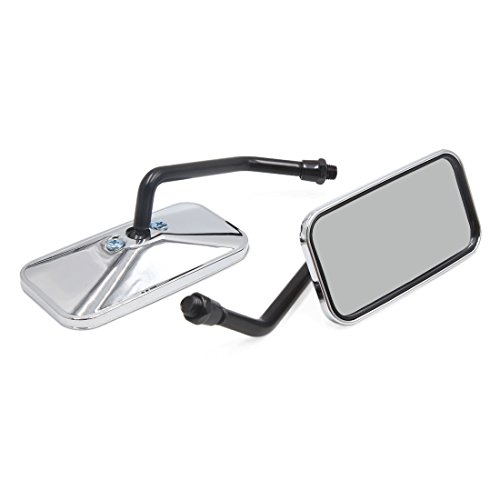(uxcell Pair 10mm Thread Dia Rectangle Shape Motorcycle Rearview Side Mirror Silver Tone )