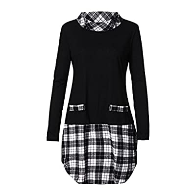 iYBUIA Women Autumn Winter Long Sleeve Plaid Patchwork Plus Size Tops Blouse T-Shirts