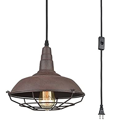 Axiland Industrial Pendant Hanging Lighting Fixture with Plug in Cord